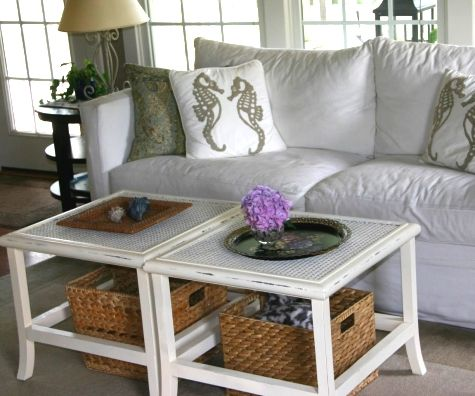 Thrift find side tables paired to make coffee table. Distressed for beachy look. http://www.completely-coastal.com/2013/10/cheap-cottage-makeover-ideas-cheap.html