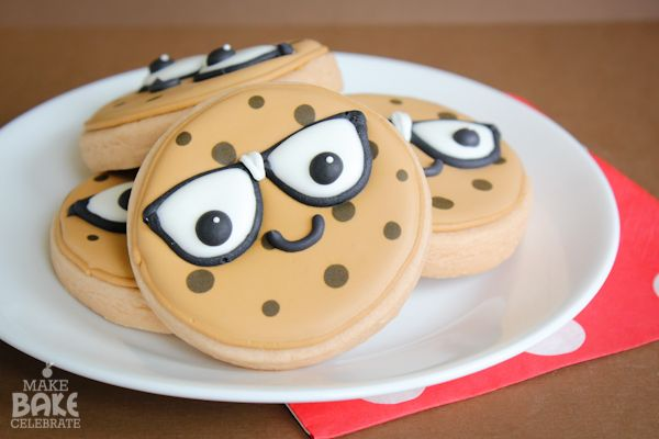 Chocolate Chip Cookies - Sugar Cookies decorated with royal icing. They have cute little royal icing eye glasse transfers.