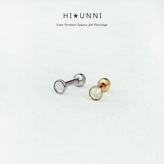 16g 3mm opale cartilagine orecchino orecchini gioielli di HiUnni