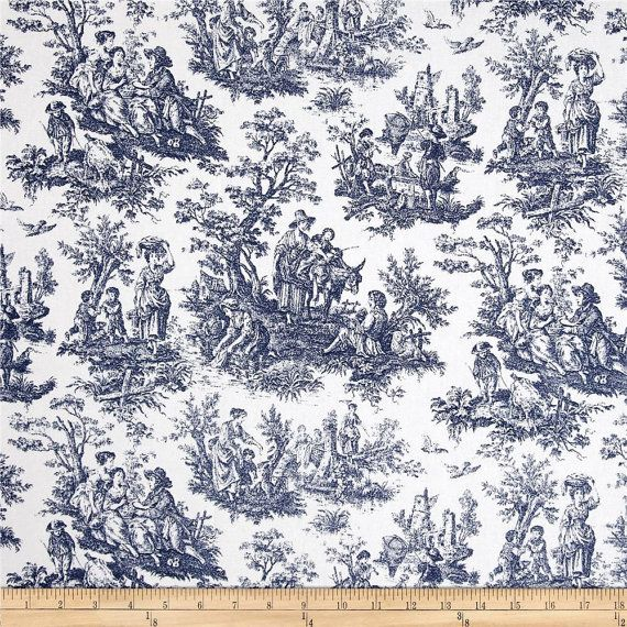 Upholstery Fabric, Drapery Fabric, Navy Blue, French Toile Fabric, French Country Home, Country Farmhouse, Shabby French Cottage Fabric