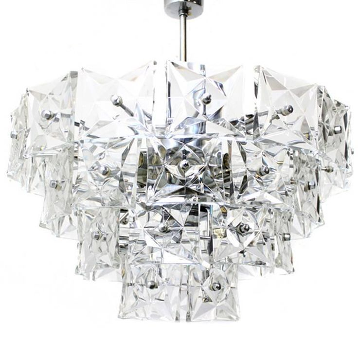 Kinkeldey Crystal Glass and Chrome Four-Tier Chandelier, Germany, 1970s | From a unique collection of antique and modern chandeliers and pendants at https://www.1stdibs.com/furniture/lighting/chandeliers-pendant-lights/