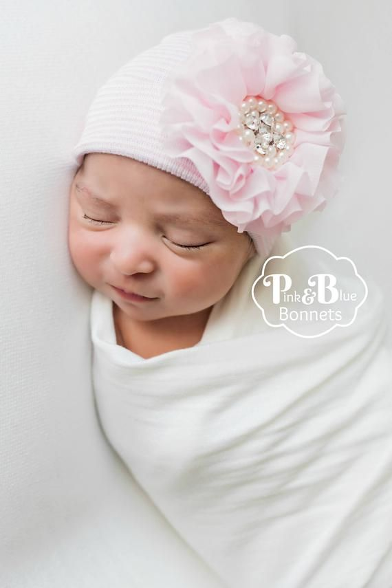 Newborn Bow Hat In Blue Pink Infant Baby Girls Accessories Ribbon Hospital Hat