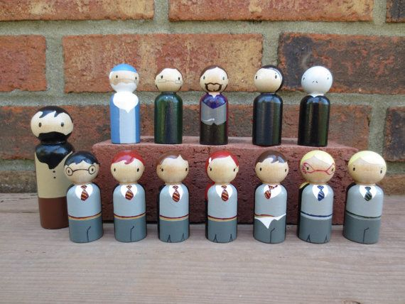 Harry Potter Inspired Peg Dolls/ Cake Toppers/ Collectibles - FULL SET - Includes all 13 Pegs Pictured