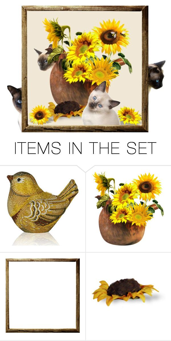 """""""Siamese and Sunflowers"""" by cardigurl ❤ liked on Polyvore featuring art"""