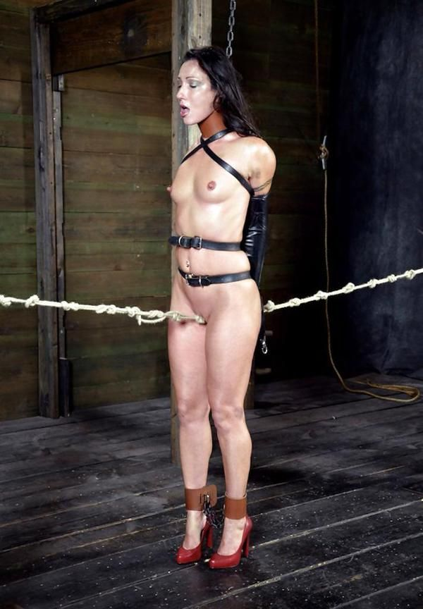 I love crotch ropes. There's one hard walk ahead of her. A nipple chain would be good to pull if she's too slow