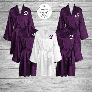 Monogrammed titled or plain bridesmaid robes bridal by BrideTribes