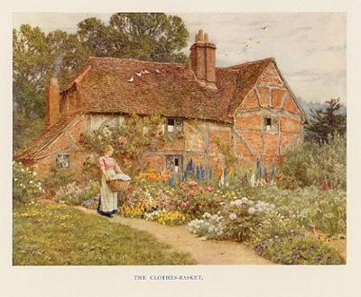 Antique Print Of A Cottage And Garden Helen Allingham Circa 1900
