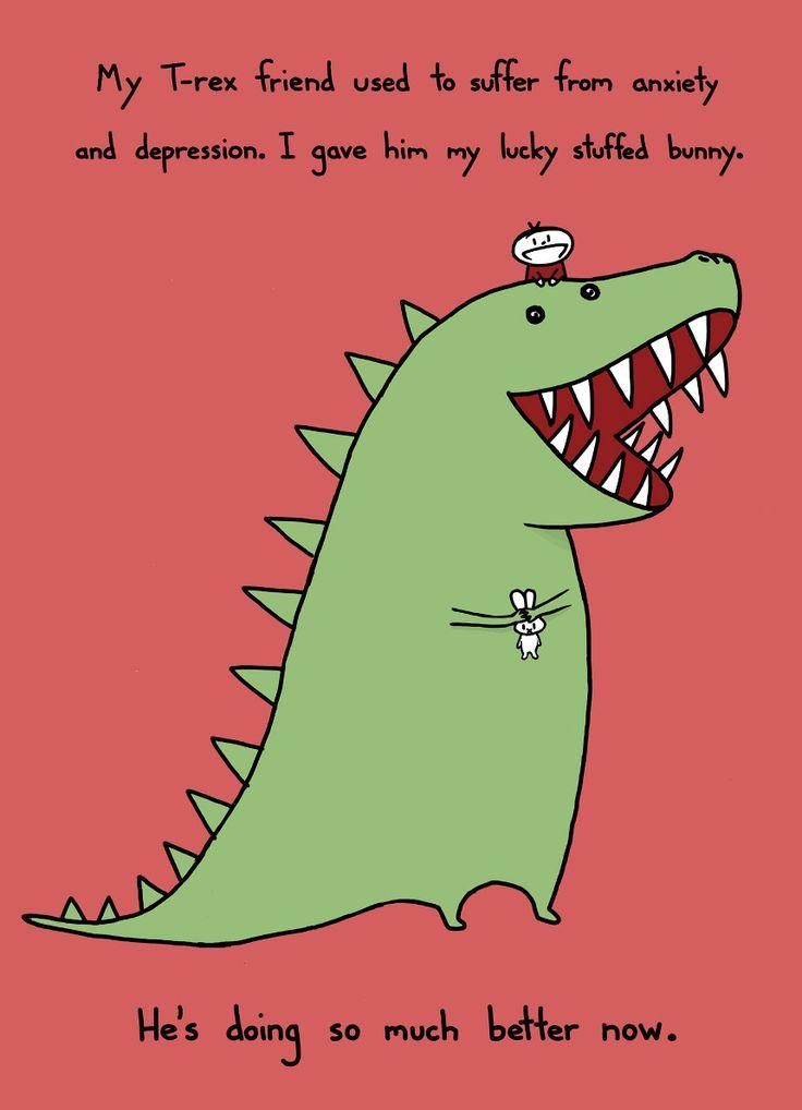 T-Rex is scared! It'll be alright, T-Rex!: T Rex, Stuffed Bunnies, Trex Jokes, Funny Stuff, Random Pin, Help Friends, Friends Help, Stuffed Animal, Trex Mood
