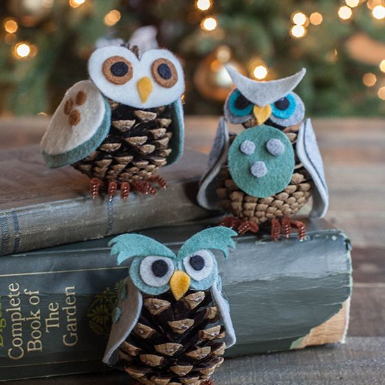 Felt & Pinecone Owl Ornaments
