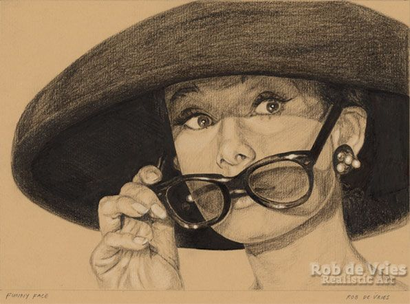 """October 2017, Audrey Hepburn """"Funny Face"""", Charcoal, Ink and white chalk on coloured paper. 15 x 21 cm."""
