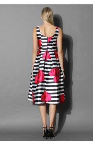 Flirty Roses Striped Prom Dress - Dress - Retro, Indie and Unique Fashion