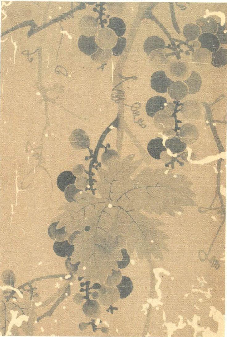Lady Sin Saimdang신사임당申師任堂(1504-51), Grape포도, 비단바탕에 수묵, 31.5x21.7cm, Kansong Art Museum.