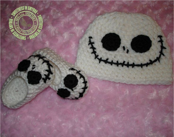 Jack Skellington - Nightmare Before Christmas - Crochet Baby Hat and Booties - 0 to 3 months - READY TO SHIP. $37.99, via Etsy.