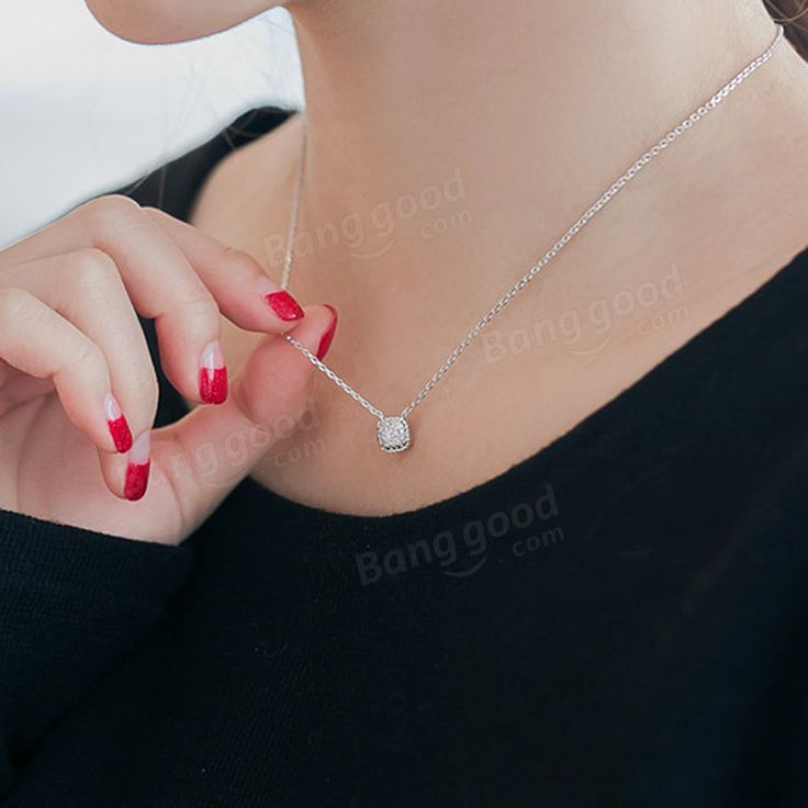 S925 Silver Crystal Square Drill Micro Inlay Pendant Simple Clavicle Necklace
