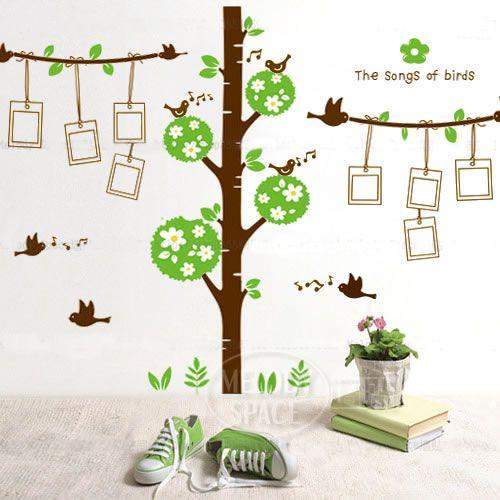 Livraison gratuite amovible. grand arbre cadre photo oiseaux stickers muraux, mode bricolage décoration stickers muraux, autocollants...