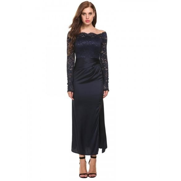 Women Casual Long Sleeve Lace Patchwork Off Shoulder Zip-up Sexy Maxi Dress