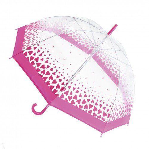 Paraguas transparente con detalle de lunares o corazones para mujer, Fuchsia (Hearts), Talla Única - http://comprarparaguas.com/baratos/transparentes/paraguas-transparente-con-detalle-de-lunares-o-corazones-para-mujer-fuchsia-hearts-talla-unica/