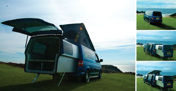 VW DoubleBack transporter comes with electrically extendable rear pod