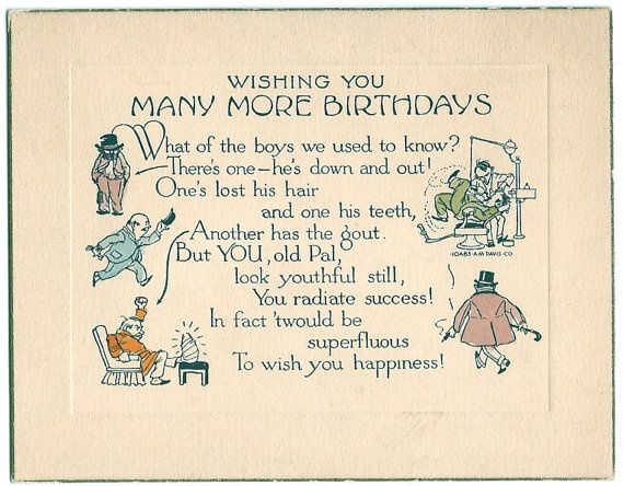 Humorous Engraved Birthday Card c 1930 – History of Birthday Cards