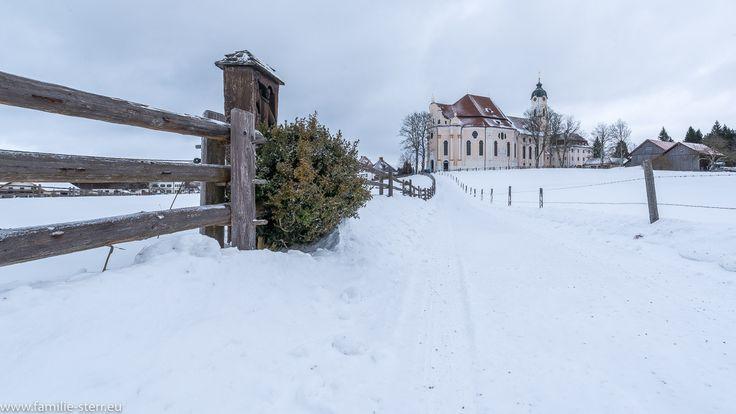 verschneiter Weg zur Wienkirche zur winterlichen Kirche in der Wies bei Steingaden