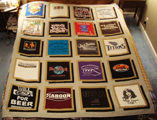 I'm usually not a fan of t-shirt quilts, but I like this one. I have enough t-shirts saved. Hmm, next project?!