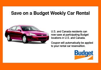 Budget Weekly Car Rental Coupon