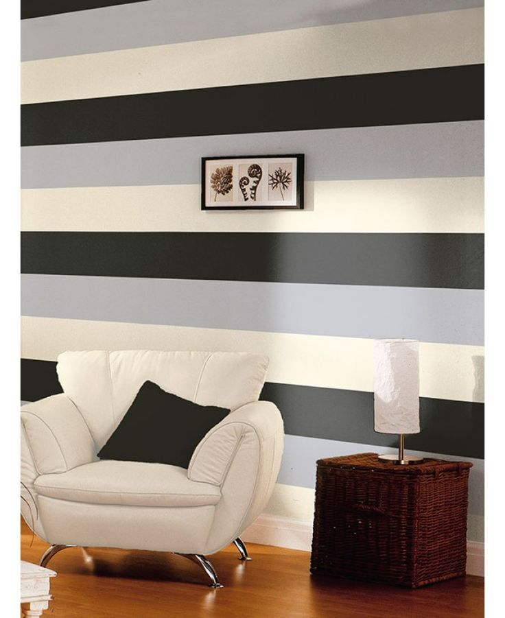 This stylish yet simple Stripe Wallpaper features a wide stripe design in complimentary tones of black, silver and cream that can be hung either vertically or horizontally. Easy to apply, this high quality lightly textured wallpaper would look great as a feature wall or equally good when used to decorate a whole room. Comes in seven colour ways.