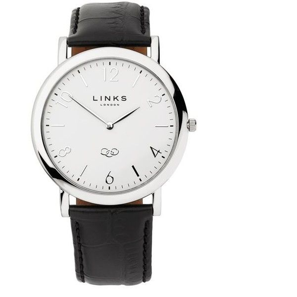 Links Of London Noble Slim Womens White Dial Black Leather Watch ($240) ❤ liked on Polyvore featuring jewelry, watches, white wrist watch, white watches, white jewelry, leather watches and links of london jewellery