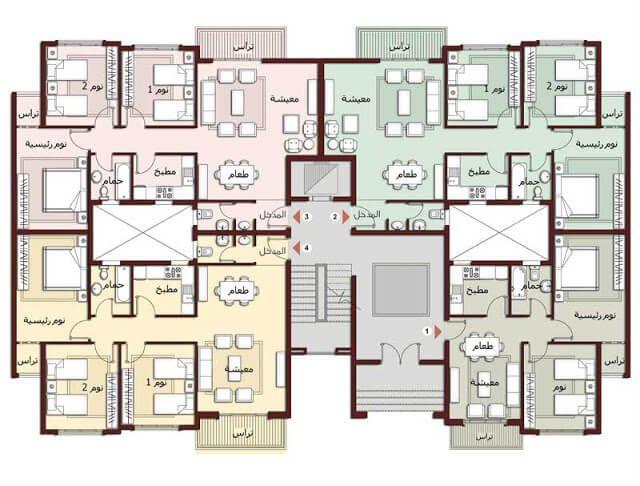 تصاميم شقق الدور الارضي Residential Architecture Plan Architectural Floor Plans Residential Building Plan