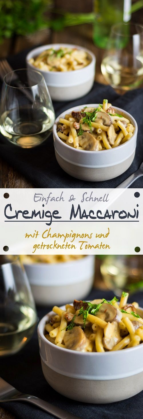 Creamy macaroni with mushrooms and dried tomatoes