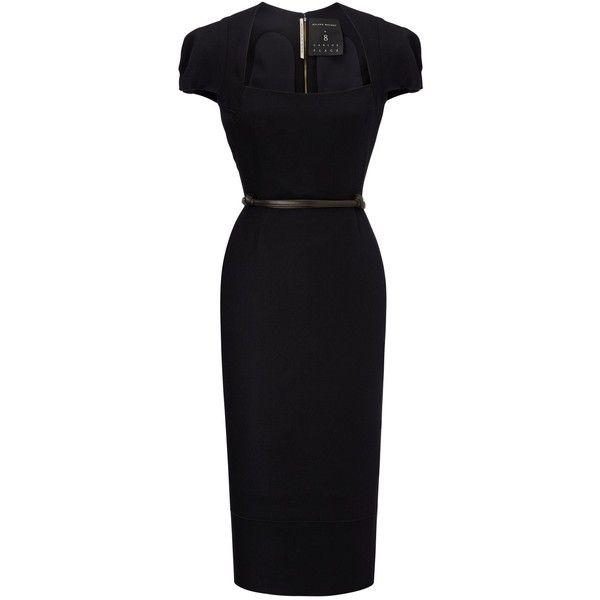 Roland Mouret Galaxy Dress ($2,825) ❤ liked on Polyvore featuring dresses, black, midi, waist belt, galaxy dress, midi dress, roland mouret dress and space print dress