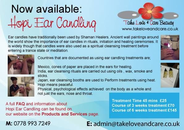 The Hopi Ear Candling has been known to benefit from the following: Headaches Migraine Hay Fever Snoring Compacted Ear Wax Sore Throats Colds Influenza Tinnitus Catarrh Rhinitis Sinusitis Asthma Vertigo Glue Ear Neuralgia Post Diving Pressure Post Flying Pressure Bell's Palsy Balance Problems Anxiety Stress