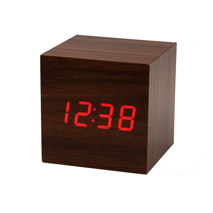 Mini Cube Style Digital Red LED Wooden Wood Desk Alarm Brown Clock Voice Control  Free Shipping