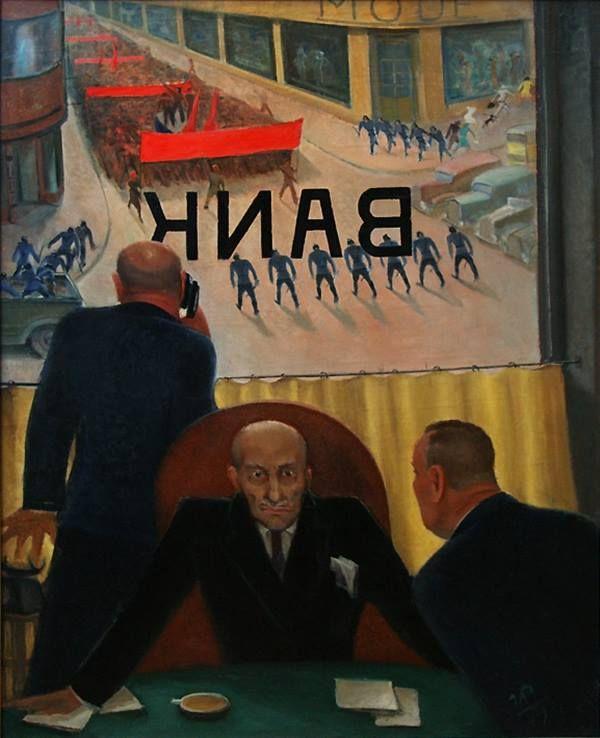 Ряжский Георгий Георгиевич (1895-1952) «Крах банка» 1932.