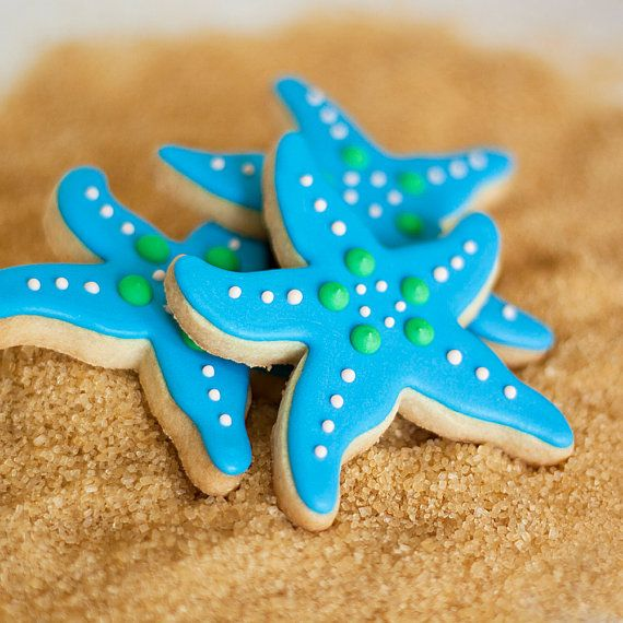 Turquoise Starfish Beach Wedding Cookie Favors Aqua // 1 doz. // Star Fish Party Birthday Wedding Shower Boy Girl // Preservative Free