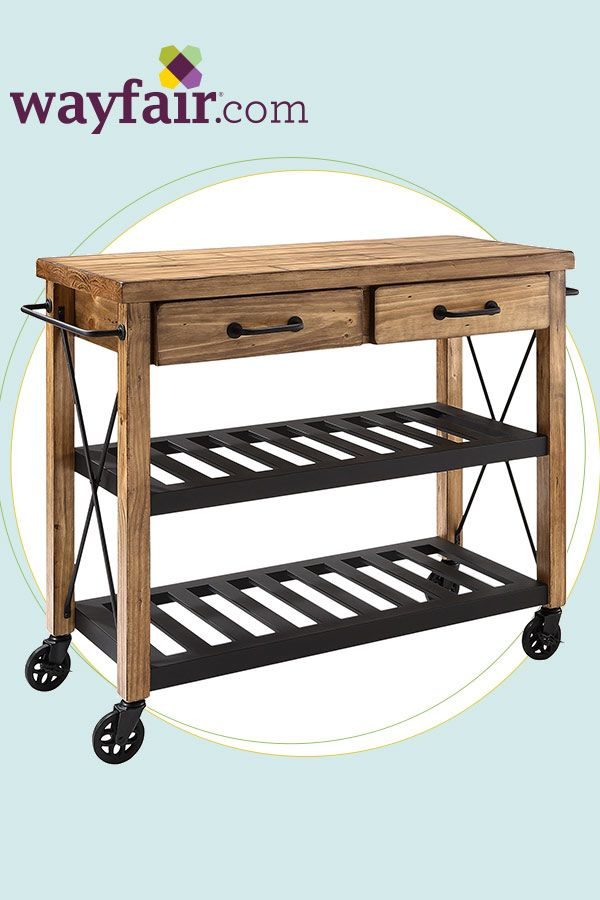 Enhance the aesthetics in your home with this rustic kitchen cart. Get up to 70% off at Wayfair!