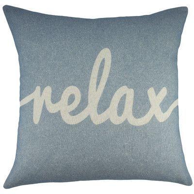 relax cotton throw pillow color light blue