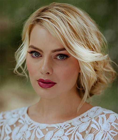 Perfect Bridal Blonde Hairstyles Fuschia Lips and Blue Eyes