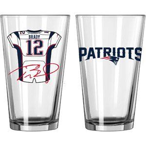 NFL 16 oz New England Patriots Tom Brady Players Jersey Glass Pint, Set of 2
