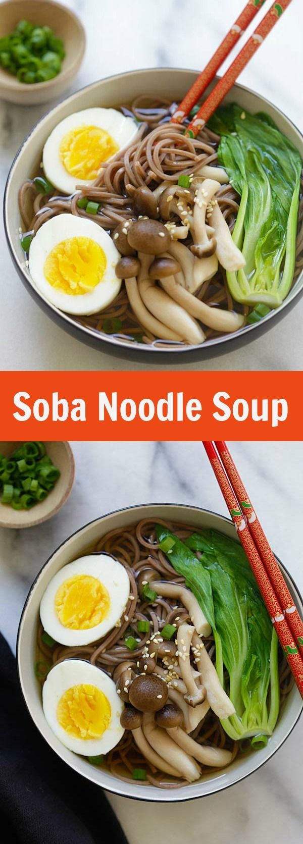 Soba Noodle Soup - the easiest and quickest Japanese soba noodle soup ever. Takes 15 minutes and restaurant quality, so delicious