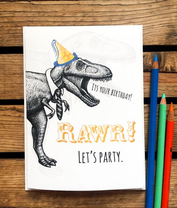 T Rex Birthday Card - Dinosaur Birthday Card - Boyfriend Birthday Card - Funny Birthday - Geeky Birthday Card - Kids Birthday Card - Rawr!
