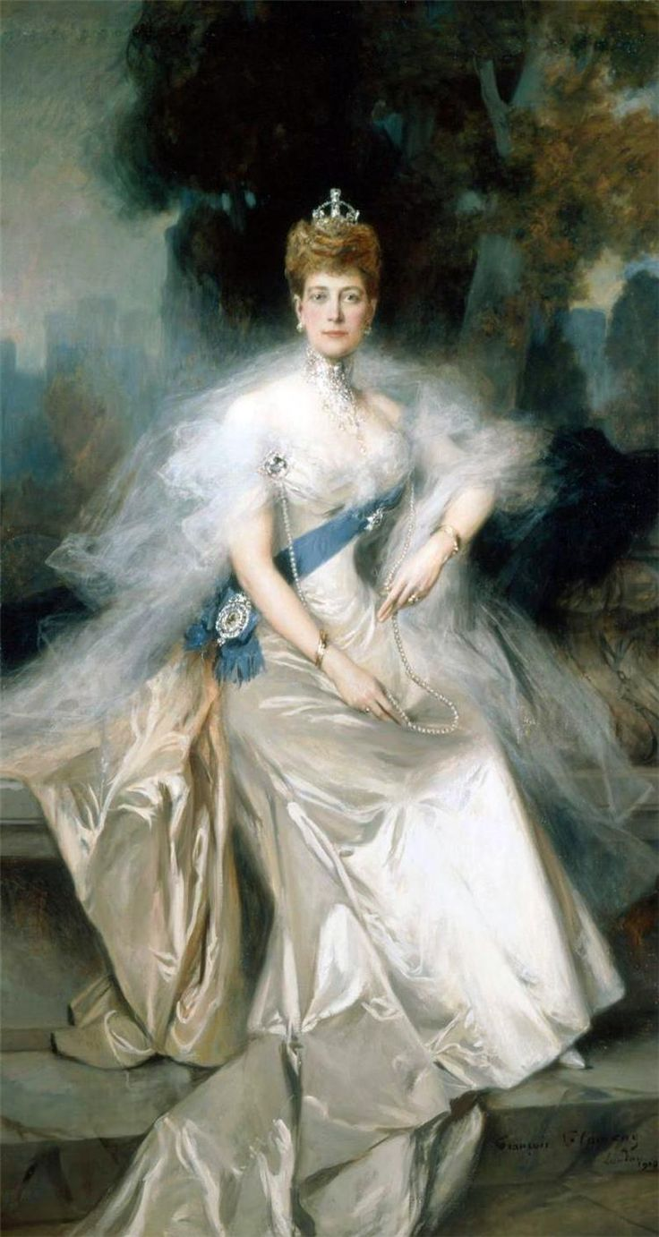 Wife of Albert Edward (King Edward VII) Prince of Wales (1841-1910) & daughter of King Christian IX (1818-1906) of Denmark & Princess Louise (1817–1898) of Hesse-Kassel. Queen Alexandra of Great Britain (Princess of Denmark) (1844-1925) by Francois Flameng, 1908.