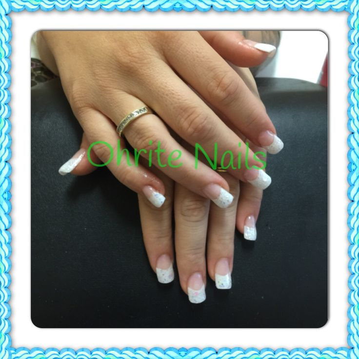 French tips with glitter blendz White wedding mix over top.
