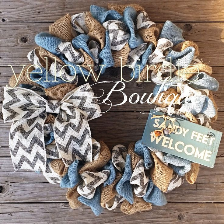Summer Burlap Wreath, Spring Burlap Wreath Chevron Burlap Wreath Home Decor Front Door Wreath by YellowBirdieBoutique on Etsy https://www.etsy.com/listing/219858607/summer-burlap-wreath-spring-burlap