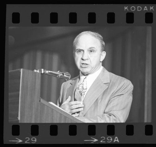 Mickey Cohen speaking at the Ex-Felon Consortium, 1975