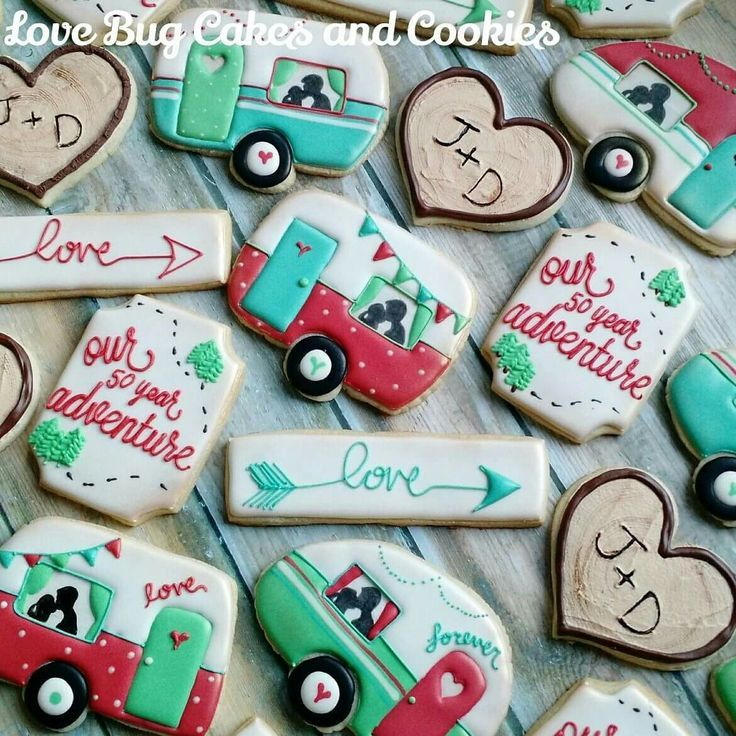 Kissing Camper Anniversary Cookies