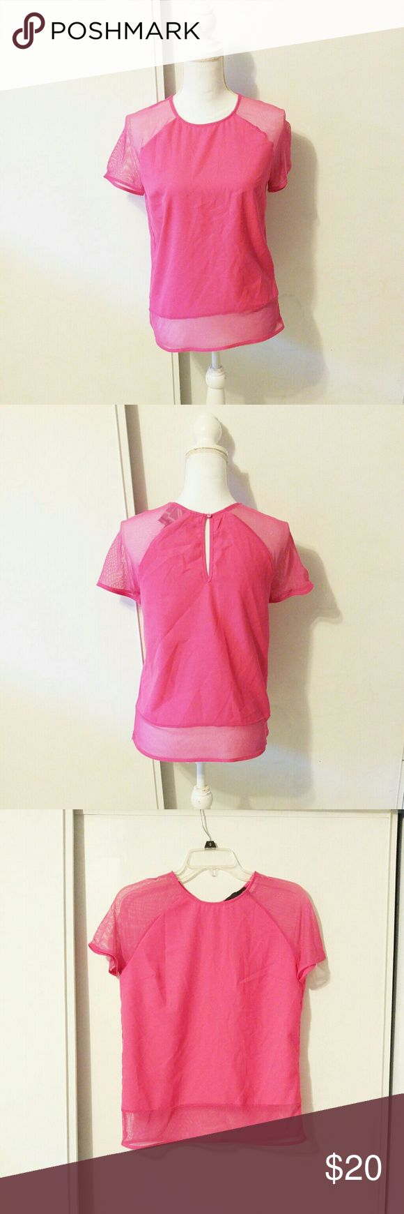 Harlome and Graham vibrant pink T-shirt with mesh BRAND: Harlome and graham  SIZE: no tag but fits a small  FLAW: none  COLOR: pink  DESCRIPTION: vibrant bright pink T-shirt from Harlome and Graham with mesh sleeves.This shirt is so chic! The short sleeves are mesh (front and back) There is also a 3 inch mesh strip on the bottom of the shirt! Very vibrant and goes amazing with nice jeans. Keyhole back. Polyester/Spandex. Crew Neck Slim Fit. Retails$68.00  The mannequin measurements are…
