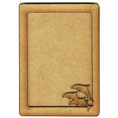 Plain ATC Wood Blank with Leaping Dolphins Frame