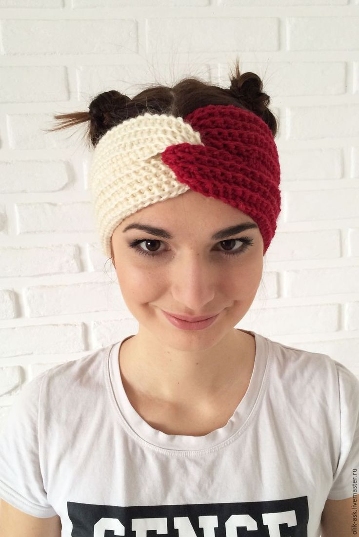 повязка на голову с косами спицами для женщин схема