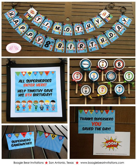 Superhero Birthday Party Package Boy 1st Batman Spiderman Superman Door Banner Cupcake Topper Tent CardsBoogie Bear Invitation Timothy Theme. : superman tent - memphite.com